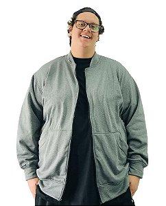Jaqueta de Moletom Plus Size Masculina Bigmen Cinza