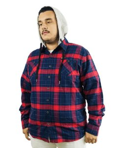 Camisa Plus Size Masculina Gangster Xadrez Vermelha  L08