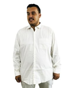 Camisa Social Plus Size Masculina Manga Longa Gelo J07