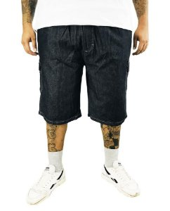 Bermuda Masculina Plus Size Cós Elástico Jeans Preta  G05