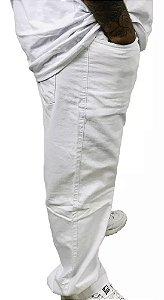Calça Elastano Branca Sarja  Masculina Plus Size