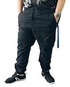 Calça Masculina Plus Size Jogger Preta  L06