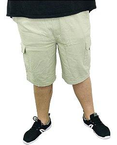 Bermuda Masculina Plus Size Cós Elástico Creme