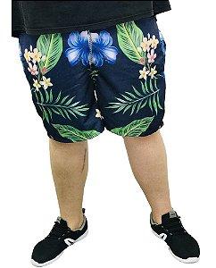Bermuda Estampada Floral Azul Plus Size Masculina