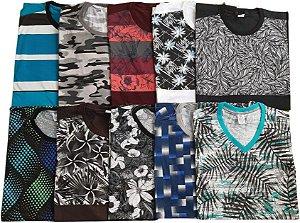 Kit 3 Camisetas Sortidas Plus Size Masculina Queima de estoque sem troca
