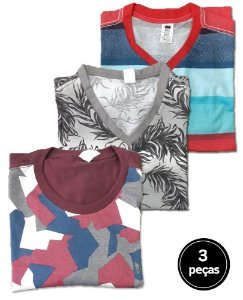 Kit 3 Camisetas Estampadas Plus Size Masculina G5 ao G8