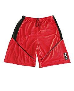 Bermuda de Basquete em Malha Masculina Plus Size Cós Elástico Vermelha