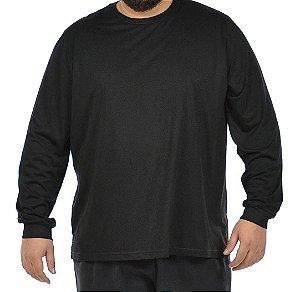 Camiseta Plus Size Masculina Manga Longa Básica Preta