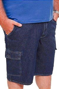 Bermuda Cargo Jeans Elastano Plus Size Masculina