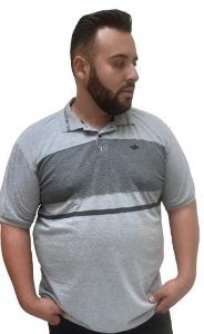 Camisa Polo Masculina Plus Size Gangster Mescla Grafite