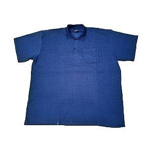 Camisa Polo Masculina Plus Size Piquet Azul