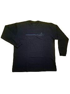 Camiseta Plus Size Manga Longa Algodão Azul Marinho Detalhes