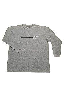 Camiseta Plus Size Manga Longa Algodão Mescla Detalhes