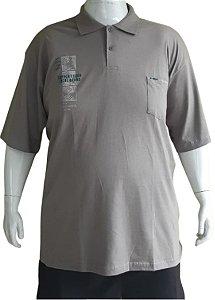 Camisa Polo Masculina Plus Size Piquet  Com Bolso Cinza Claro Bigmen