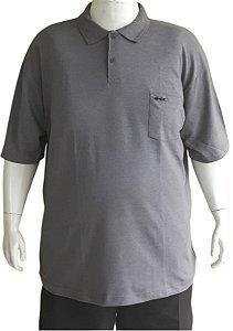 Camisa Polo Masculina Plus Size Piquet Com Bolso Cinza Escuro Bigmen