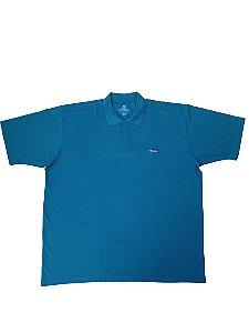 Camisa Polo Masculina Plus Size Piquet Kairon Azul