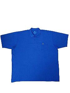 Camisa Polo Masculina Plus Size Piquet Com Bolso Kairon Azul Royal