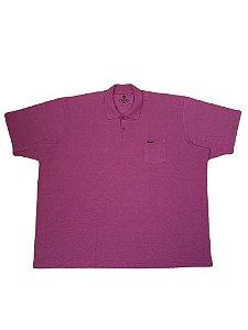 Camisa Polo Masculina Plus Size Piquet Com Bolso Kairon Vinho
