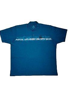 Camisa Polo Masculina Plus Size Algodão Kairon Azul Petroleo