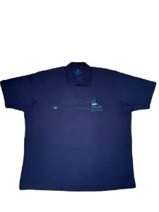 Camisa Polo Masculina Plus Size Algodão Kairon Azul Marinho