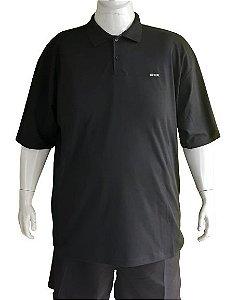 Camisa Polo Masculina Plus Size Piquet Preta Detalhes