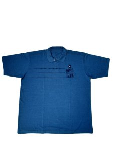 Camisa Polo Masculina Plus Size Piquet Azul Blue Estampada