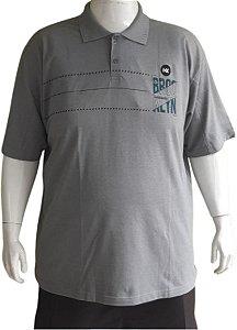 Camisa Polo Masculina Plus Size Piquet Cinza Detalhes Bkl