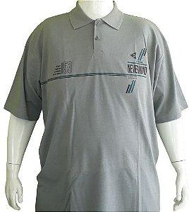 Camisa Polo Masculina Plus Size Piquet Chumbo Bigmen