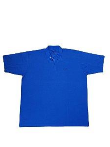 Camisa Polo Masculina Plus Size Piquet Azul Petroleo  Pt