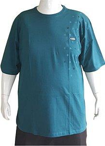 Camiseta Plus size Masculina Algodão Azul Bigmen