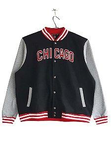 Blusa Plus Size Masculina Moletom Bigmen Chicago Preta