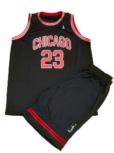 Kit Bermuda e Camiseta Plus Size Basquete Chicago Preto