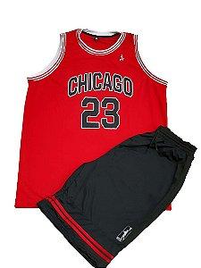 Kit Bermuda e Camiseta Plus Size Basquete Chicago Preto e Vermelho