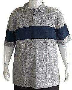 Camisa Polo Masculina Plus Size Mescla Com Listra