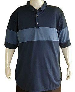 Camisa Polo Masculina Plus Size Azul Com Listra Bigmen