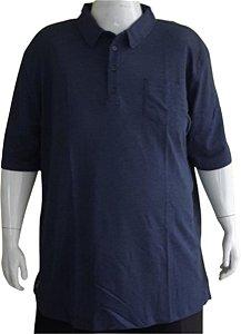 Camisa Polo Masculina Plus Size Com Bolso Austin Life Azul