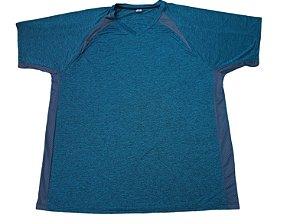Camiseta Plus Size Masculina Bigmen DRY Sport Azul Detalhes V