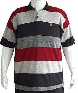 Camisa Polo Masculina Plus Size Elastano Listrada