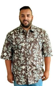Camisa Estampada  Algodão Masculina Plus Size Bigmen