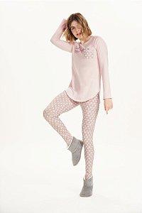 Pijama Manga Longa com Legging Cor com Amor