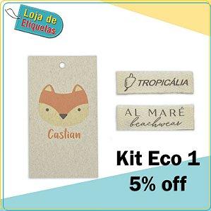 Kit Eco 1 (Etiqueta palito de Sarja + tag reciclato)