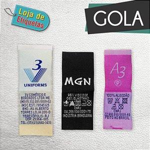Etiqueta bordada Gola - Alta Definição e Tafetá (1.000 peças)