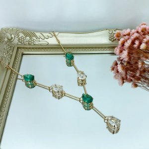 colar gravatinha nuello turmalina cristal dourado