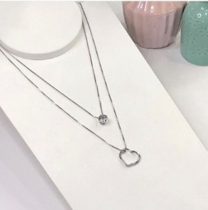 colar duplo florida prata