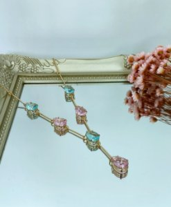 colar gravatinha nuello acqua rosa dourado