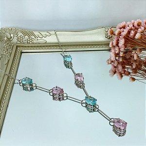 colar gravatinha nuello acqua rosa prata