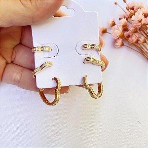 kit de 3 argolinhas coração zirconia dourado