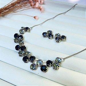 conjunto pedraria luxury black prata