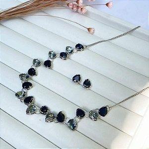 conjunto de luxo belíssima zircônias black prata