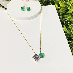 conjunto duplo quadrado verde e lilás dourado